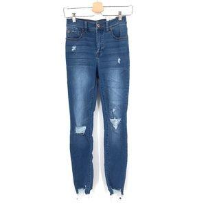 NEW INC Essex Super Skinny stretch boho Jeans distressed high rise 2/26 women's